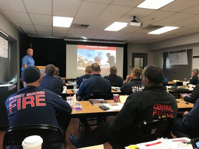 IAFF members participate in Wildland Interface classroom training